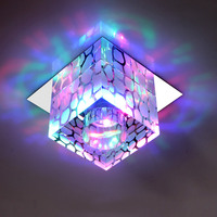 Chandelier Ceiling Cube Light Crystal Lamp Pendants Square Small Lamps Crystals Luminaire Corridors Porch Creative Lighting
