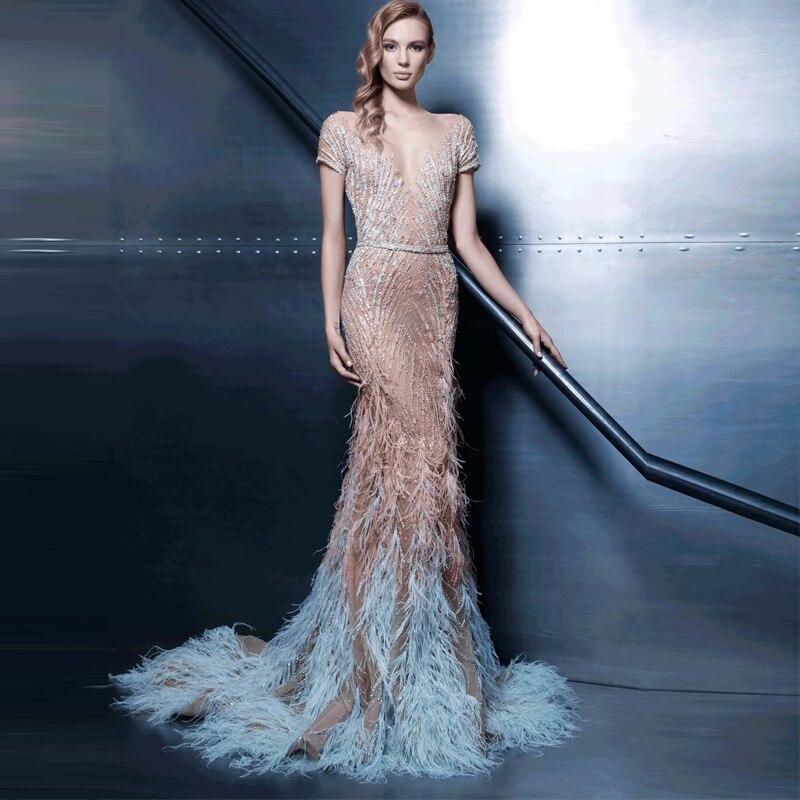 Custom Made Abaya In Dubai Long Feather Dress Short Sleeve Mermaid ...