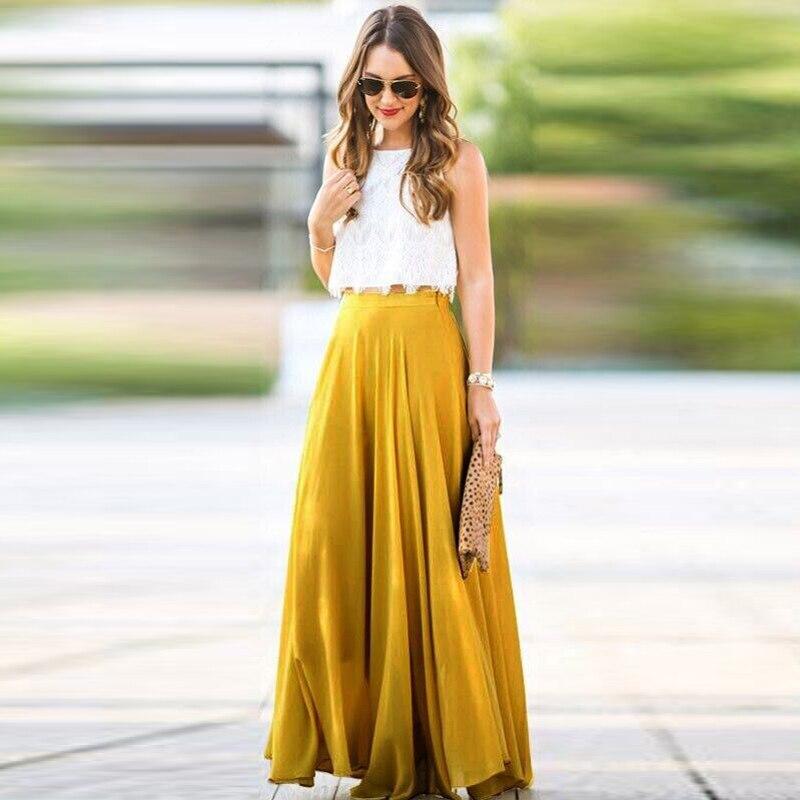 new Summer long skirt elegant 2018 falda larga mujer Stretch High Waist skirt Skater Flared Pleated Chiffon boho Skirts womens