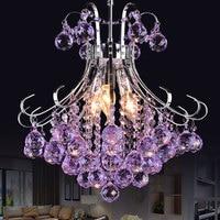 Roxo lustre de iluminação cozinha sala jantar quarto lustre cristal ferro forjado interior decoração para casa luminaria pendente|Lustres| |  -