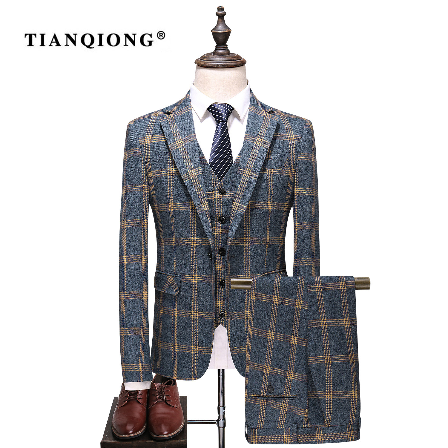 TIAN QIONG White Stripes Wedding Suits 3 Pieces Men Suit Slim Fit Grooms Wedding Business Suits