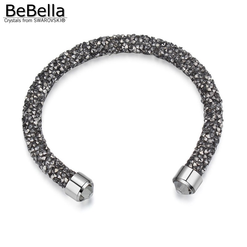 d28349a32ef2 BeBella cristal rocas polvo Delgado brazalete abierto brazalete con  cristales de Swarovski para mujeres niñas joyería de moda regalo 2018 en  Brazaletes de ...