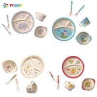 Children S Degradable Five Piece Tableware Set Baby Gift Bamboo Fiber Baby Cartoon Printing Plate