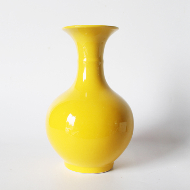 Yellow Vase Jingdezhen Ceramic Floret Bottle Pure Yellow Bathroom