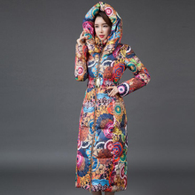 Plus Size 2016 Winter Down Cotton Jacket Women Parka Ultra Long Print Coats Female Slim Ladies Jackets Thicken Women Coat