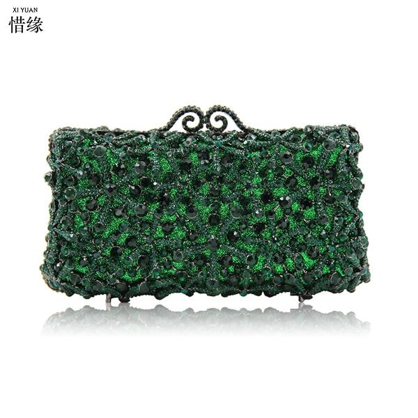 XIYUAN BRAND GREEN Clutch Evening Bag Luxury crystal Party Clutch Purse Cocktail Bag Women Studded Diamond