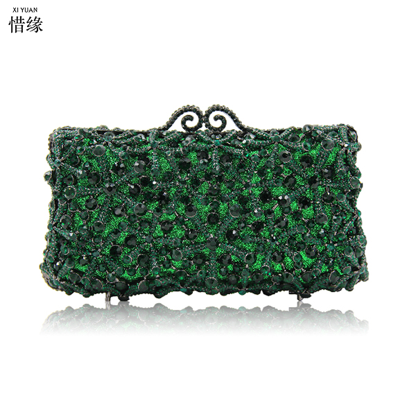 XIYUAN BRAND GREEN Clutch Evening Bag Luxury crystal Party Clutch Purse Cocktail Bag Women Studded Diamond Lady Handbag GOLD pas de rouge полусапоги и высокие ботинки