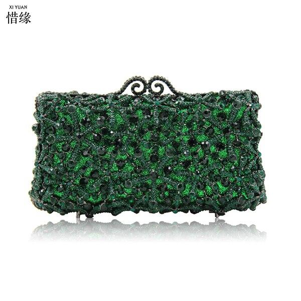 XIYUAN marka zielony sprzęgła wieczór torba luksusowe kryształ torebka Clutch Party koktajl torba kobiety Studded diament Lady torebka złota w Torby z uchwytem od Bagaże i torby na  Grupa 1