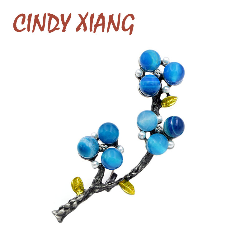 CINDY XIANG New Arrival Resin Bead Plant Brooches For Women Elegant Coat Brooch Pin Vintage Style Jewelry 3 Colors Available