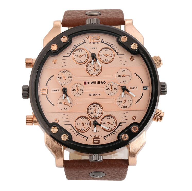 New Hot Top Brand Shiweibao Military Leather + Alloy Army Dual Time Quartz Large Dial Wrist Watch Oulm Hot Clock Relogio