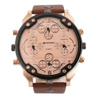 New Hot Top Brand Shiweibao Military Leather Alloy Army Dual Time Quartz Large Dial Wrist