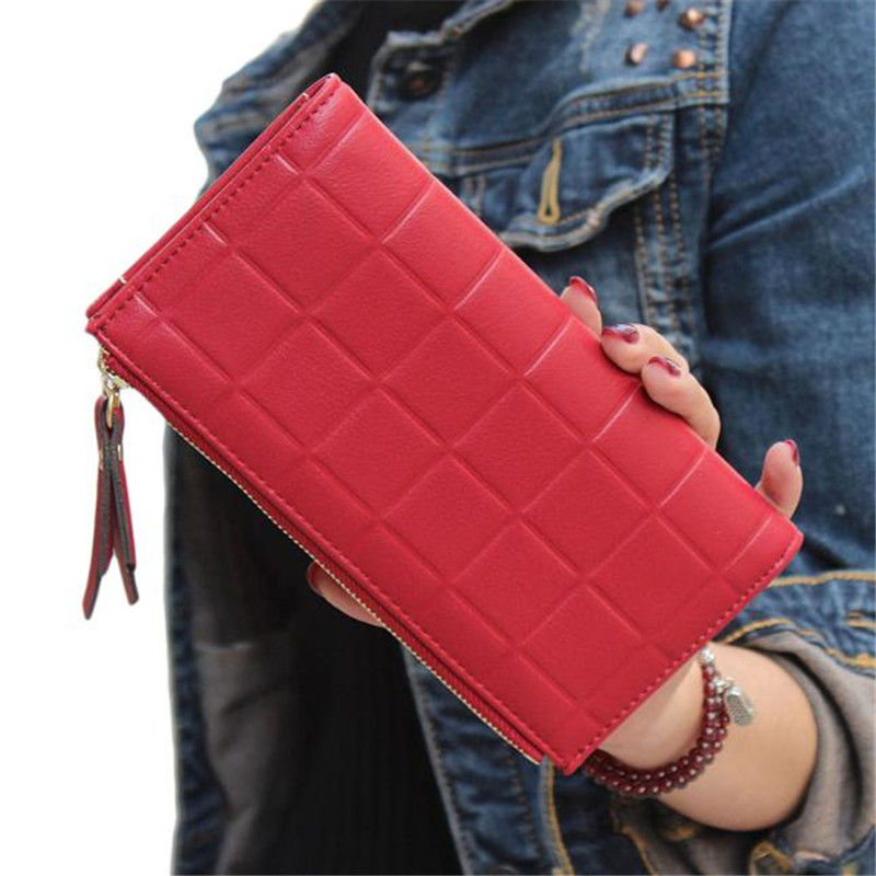 Brand  Women Dollar Price 2017 Fashion Women Leather Clutch Wallet Purse Handbag Casual Lady Long Wallets  femme Free Shipping dollar price new european and american ultra thin leather purse large zip clutch oil wax leather wallet portefeuille femme cuir