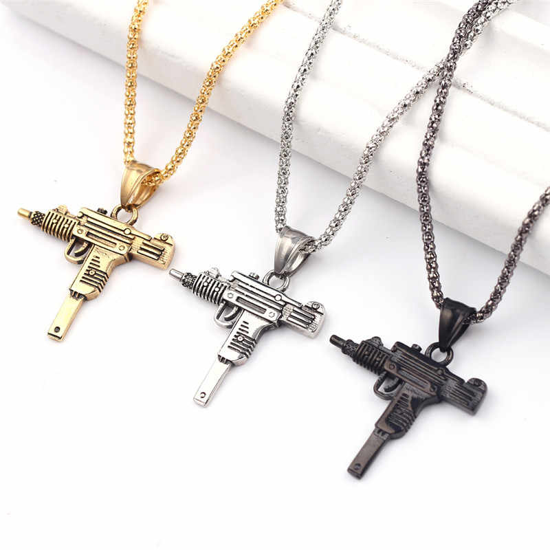 New Uzi Gun Cross Pendant Necklaces Long Cuban Link Chain Fashion Necklace For Unisex Hip Hop Jewelry