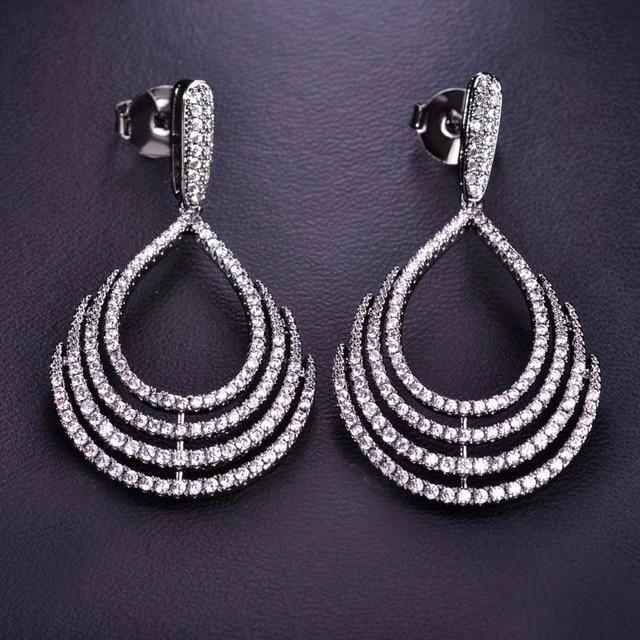 Shiny Zircon Stones Stud Earrings Water Drop Large Copper Rhinestones Aros Brincos Women Party Jewelry Pendientes Christmas Gift