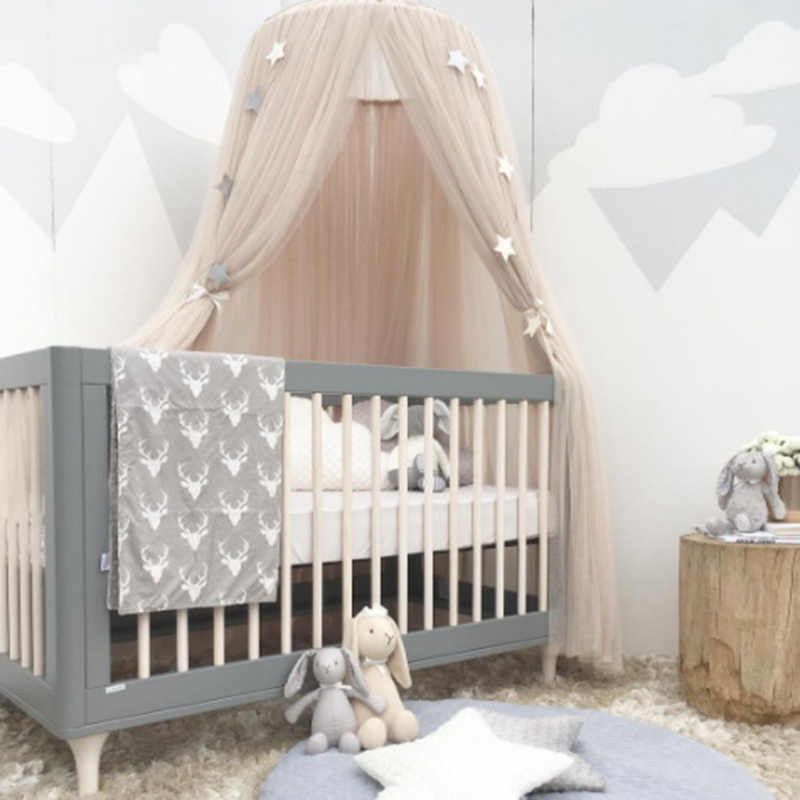 Mosquito Net with FREE Stars Hanging Tent Baby Bed Crib Canopy Tulle Curtains for Bedroom Play House for Children Kids Room