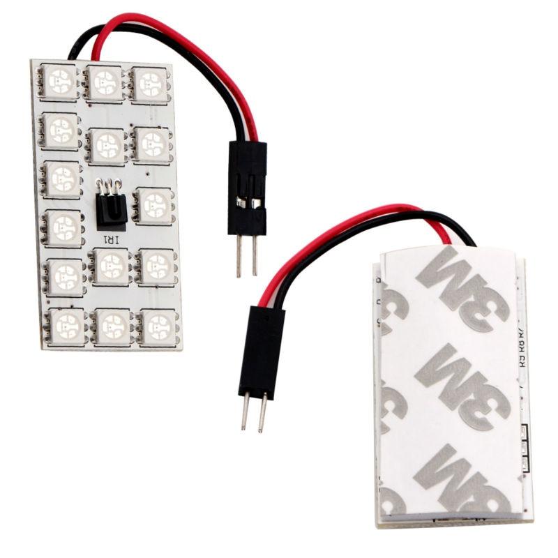 2 PCS T10 5050 SMD 16 Warna 15 RGB LED Remote Control Mobil Interior - Lampu mobil - Foto 2