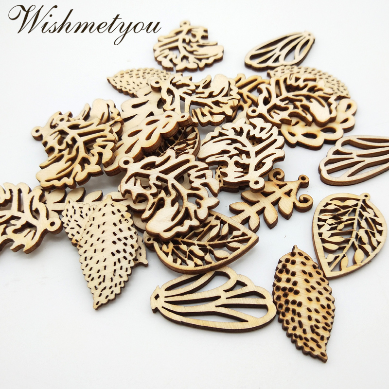 WISHMETYOU 20pcs Mixed Natural Leaf Wooden Chips Embellishment Art For Handmade Diy Home Craft Supplies Graffiti Wood Leaves New