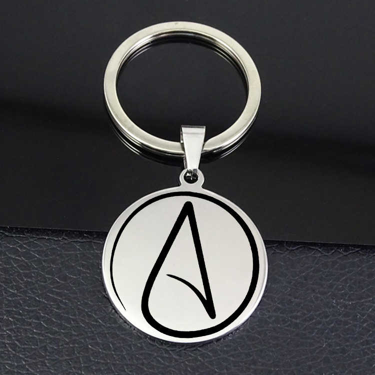 Personality Atheist Symbol Keychain 2019 Best Selling Disc Charm keyring Jewelry for Men and Women YP7007