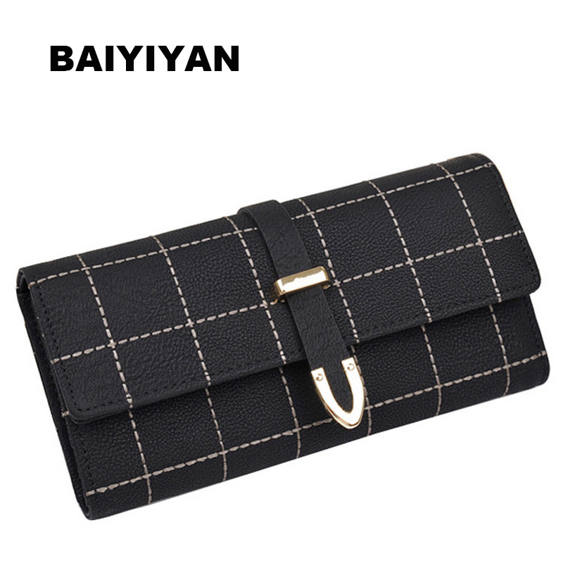 2018 Hot Sale Fashion Plaid Wallets PU Leather High Quality Credit Card Holder Purse Arrow Hasp Wallet