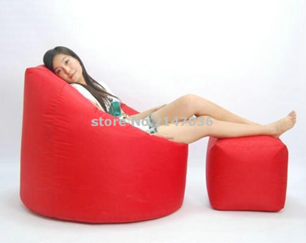 цена на waterproof outdoor High back bean bag recliner with foot stool ,cozy indoor lounger bean bag, RED Beanbag sofa chair