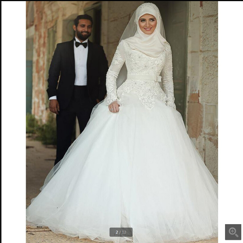 2019 Free Shipping Ball Gown High Neck Modest Muslim Women Wedding Dress Lace Appliques Beaded Long Sleeve Princess Bride Gowns