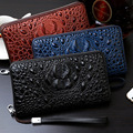 2016 3D Crocodile Grain Long Men Wallets PU Wallets Embossed Design Portefeuille  Wallets Men Clutch Purse