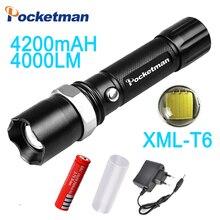 Фотография CREE XM-L T6 Led Flashlight 3800Lumens Led Torch Zoomable Waterproof Tactical Flashlight lanterna for 1x18650 Camping Hiking