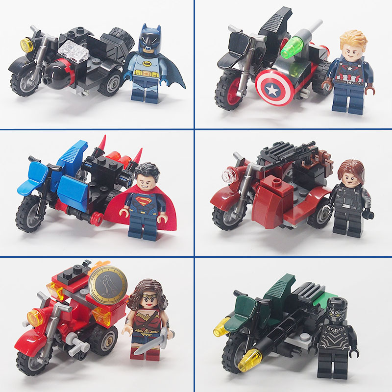 Batman Super Heroes The Avengers Figures Military weapon Motorcycle Building Blocks Bricks Compatible legoed toys for children 8 in 1 military ship building blocks toys for boys