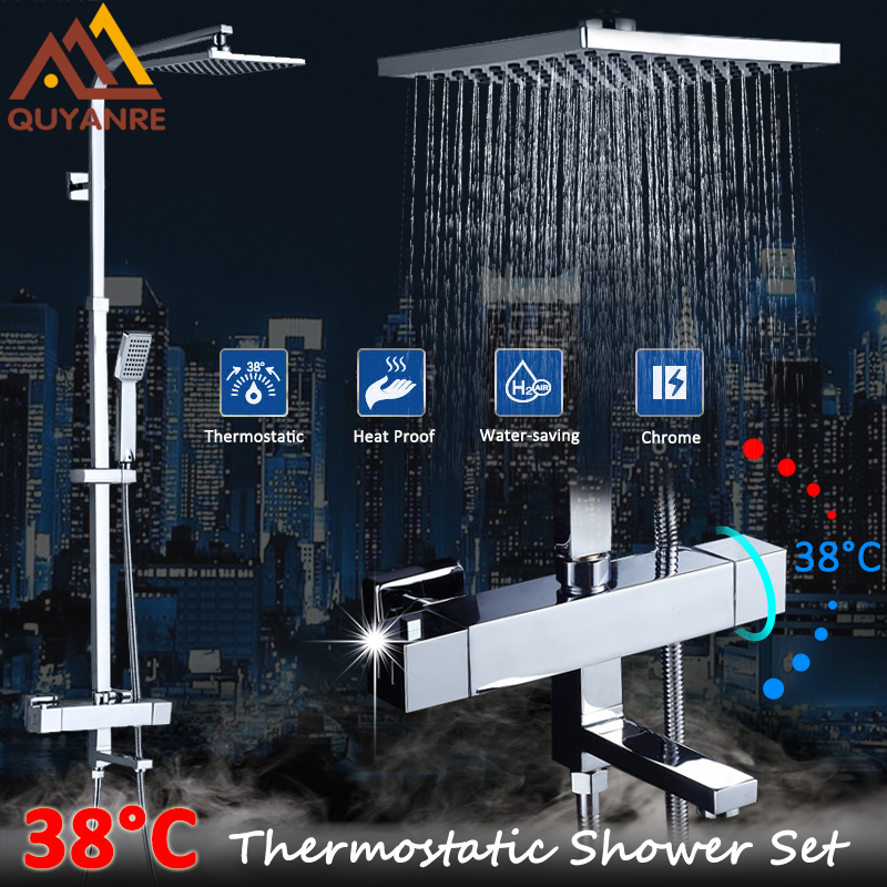 Quyanre Thermostatic Shower Faucets Set Chrome Rainfall Shower Head ABS Handshower Tub Spout Thermostatic Mixer Tap Faucets Bath