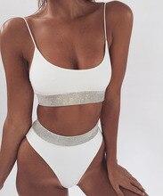 Bikiwave Sport noir blanc paillettes taille haute maillot de bain Bikini ensemble 2019 Sexy haute coupe Bikinis femmes Push Up maillots de bain Banting costume