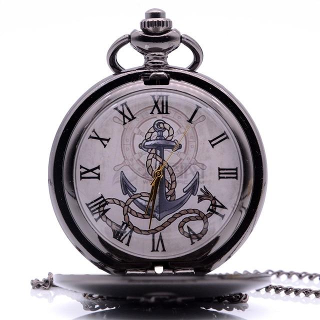 Drop Shipping Vintage Antique The Rudder Anchors Quartz Pocket Watch Analog Pend