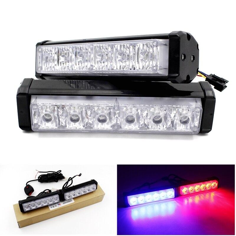 12 led strobe flash warning light bar car styling white red blue. Black Bedroom Furniture Sets. Home Design Ideas