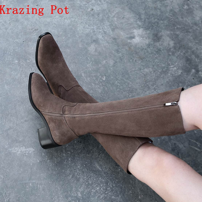 Krazing Pot 2019 cow suede full grain leather motorcycle handmade slip on med heels round toe