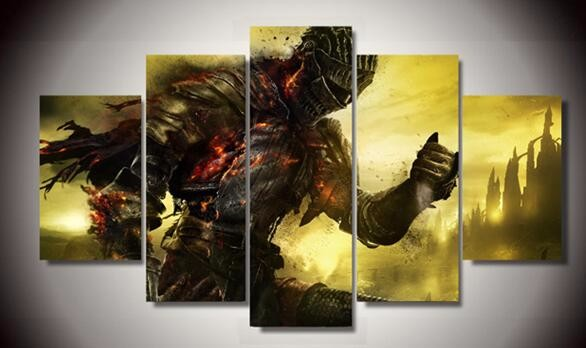 Framed 5 Panel Dark Soul Cuadros Decoracion Canvas Wall Art Picture Home Decoration Living Room Canvas