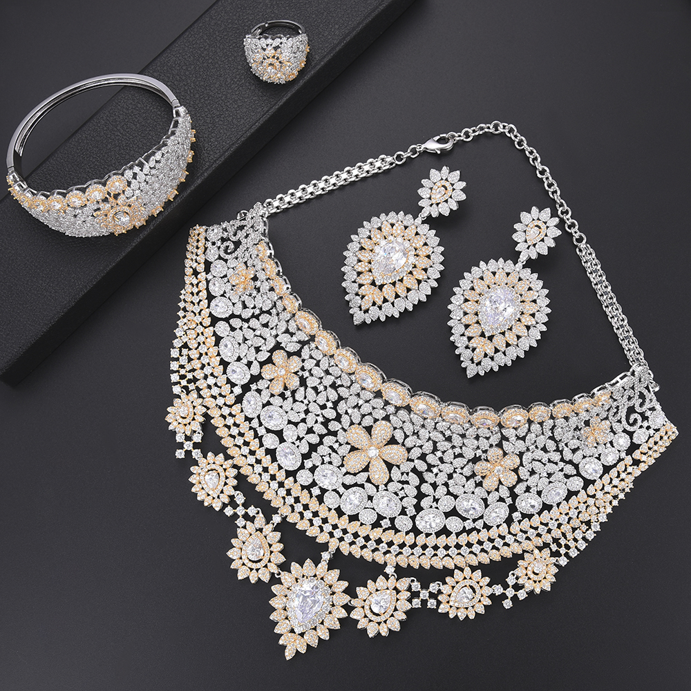 missvikki 4 PCS Bohemian Style Shiny Full Cubic Zirconia Jewelry Set For Women Bridal Wedding Enaggement Anniversary Party
