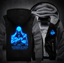 Winter adult Assassins Creed Luminous Jacket Sweatshirts Thicken Hoodie Coat Clothing Casual Coat