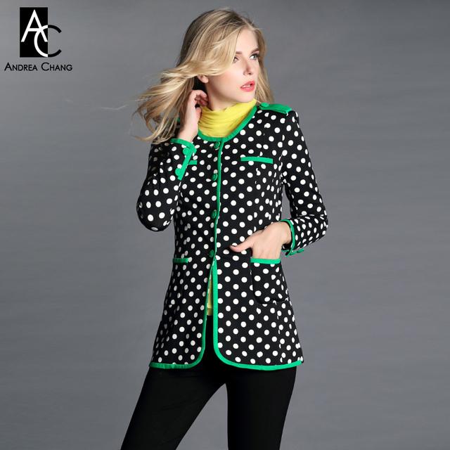 2013 otoño invierno del diseñador de las mujeres trench coat negro white dot print franja verde de moda elegante gabardina marca vendimia