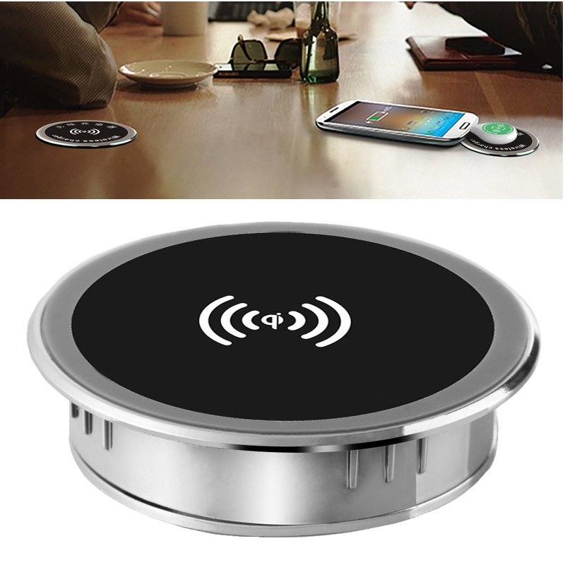 5W 10W 15W Built-in Desktop Qi Wireless Charger Device For iPhone Charging Plate Portable Power Charger Mat Mobile Power Charger 1