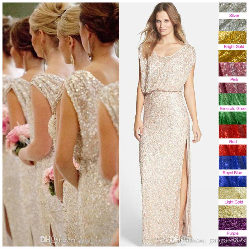 Sequins rose gold long bridesmaid dresses plus size split for Plus size champagne colored wedding dresses