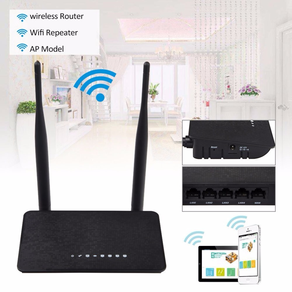 KuWFi 300Mbps Wireless Wifi Repeater Wireless Extender 2.4Ghz Smart Wifi Router MT7628KN Chipset With 2Pcs Antenna With English