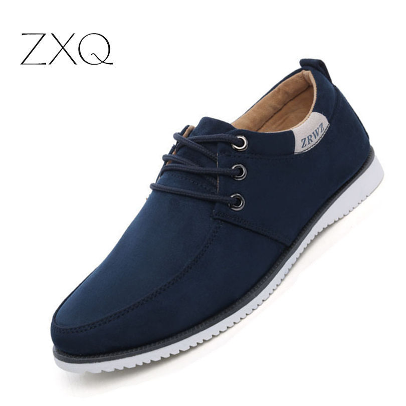 New 2018 Autumn Spring Men Shoes Casual Leisure Male Footwear Fashion Men's Flats   Suede     Leather   Flat Shoes Men Comfortable Shoe