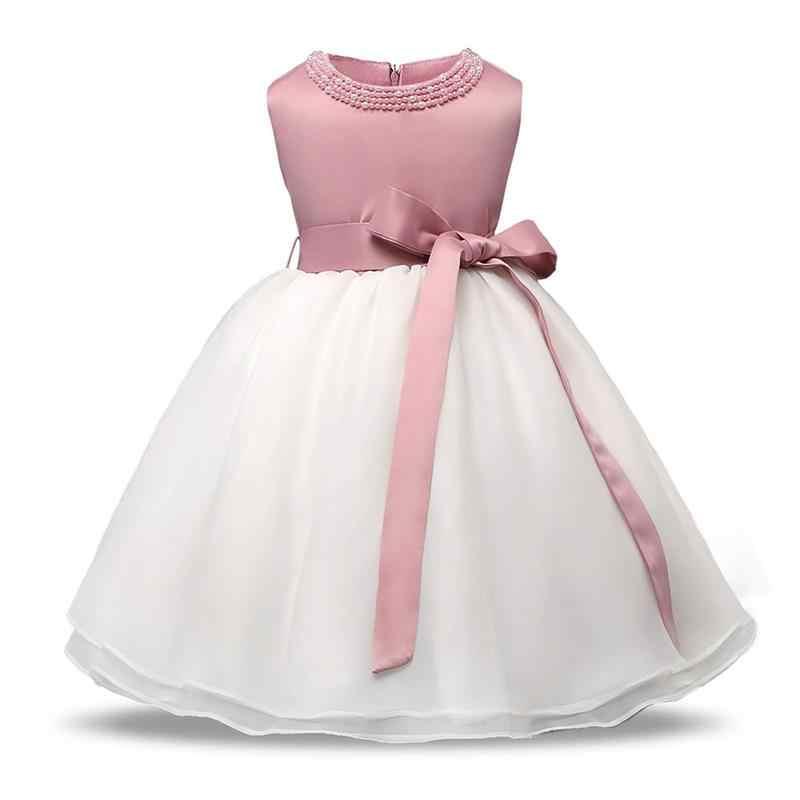 2018夏の王女赤ちゃんウェディングドレスノースリーブ花レース洗礼ガウンドレス用キッズ女の子服ベビー子供服