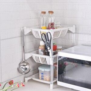 Image 3 - Keuken Organizer Pp Opslag Rack Plank Met Beweegbare Mand Badkamer Keuken Koelkast Side Planken 3/4 Lagen Fruitmand