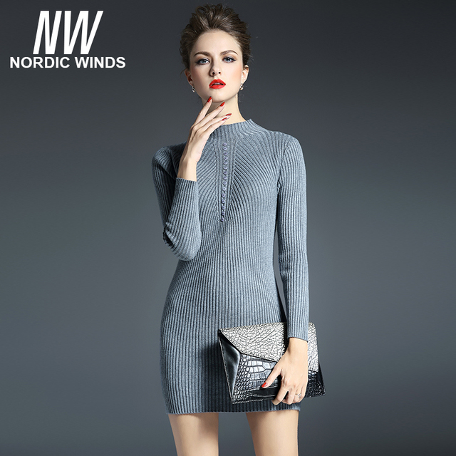 Nordic winds 2016 winter women's knitted sweater mandarin collar long sleeve button decoration christmas long  pullovers