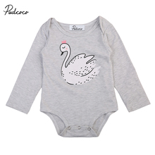 2017 Fall Adorable Infant Baby Girls Boys Clothes Long Sleeve Swan Romper Jumpsuit Newborn Cotton One-Peice Outfit