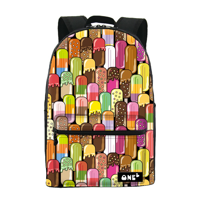 ONE2 Design colorful 600D polyester school bag laptop backpack ice cream for university students women man teenager boys girls one2 design colorful 600d polyester school bag laptop backpack ice cream for university students women man teenager boys girls