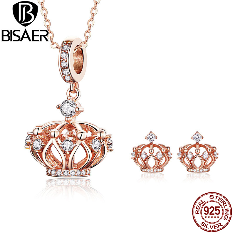 BISAER Authentic 925 Sterling Silver Princess Crown Jewelry Set Rose Gold Color Earrings Necklaces Women Jewelry Sets WES112BISAER Authentic 925 Sterling Silver Princess Crown Jewelry Set Rose Gold Color Earrings Necklaces Women Jewelry Sets WES112