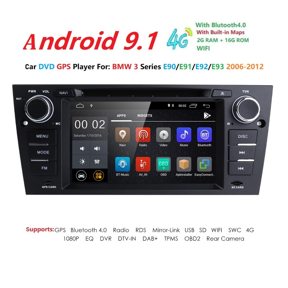 7 inch 1024x600 HD Touch Screen 1 din Android 9.1 Car Multimedia Radio Stereo for BMW E90 91 92 93 Wifi 4G Bluetooth DVR RDS USB