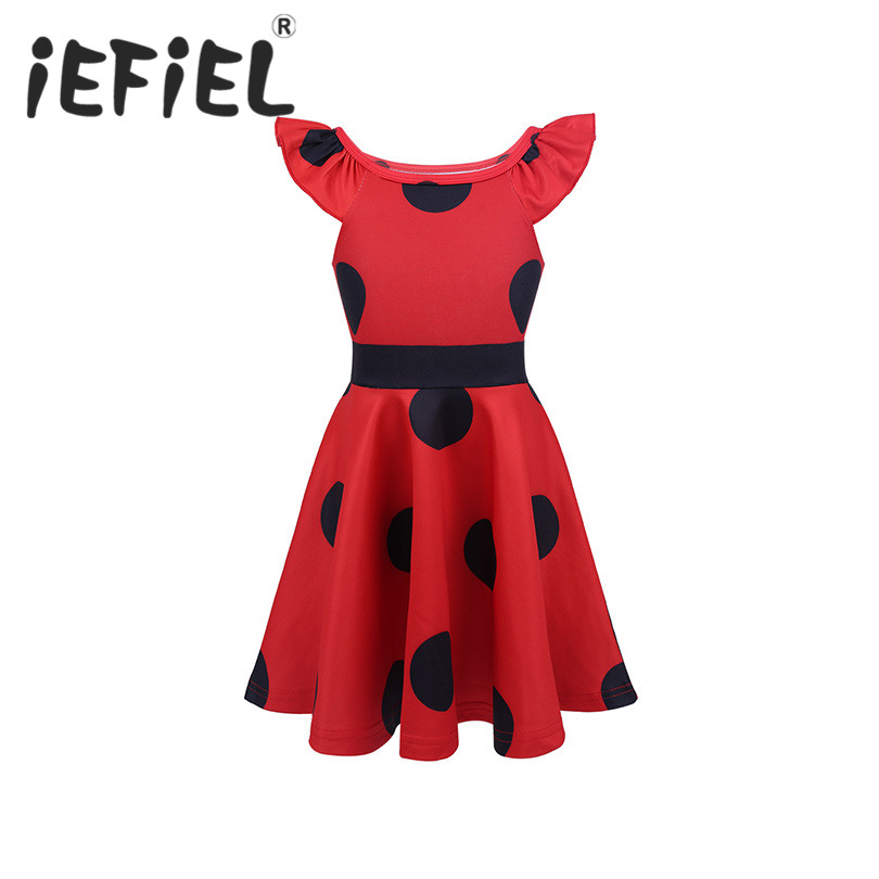 Girls Cosplay Dress Kids Girls Ruffled Fly Sleeves Polka Dots A-Line Birthday Party Cosplay Costume Fancy Parry Dress-Up Dress