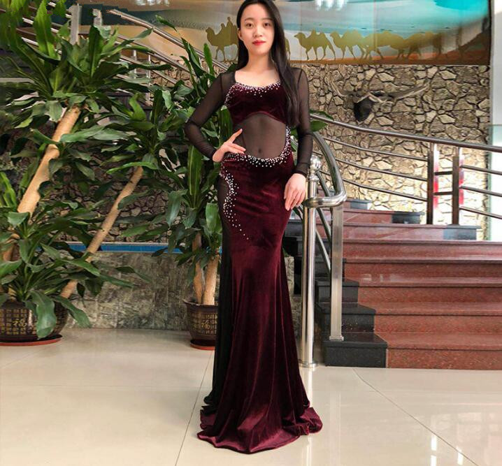 Oriental Dance Costume Lady's Long Dress Sexy Transparent Dance Outfit Velvet Purple Black Hot Pink Class Practice